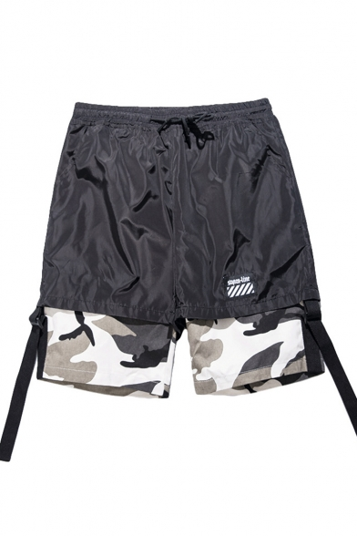 Guys Street Hip Hop Fashion Fake Two-Piece Camo Patched Buckle Ribbon Cotton Loose Shorts