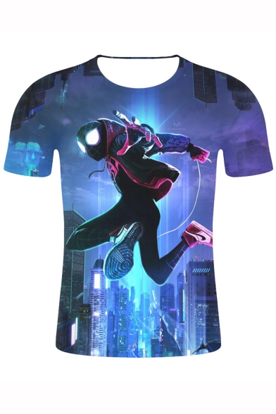 Hot Popular Spider-Man Into the Spider Verse 3D Figure Print Blue Basic T-Shirt