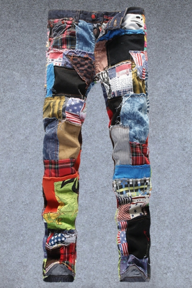 Men's New Stylish Irregular Random Colorful Patched Button Fly Slim Fit Jeans