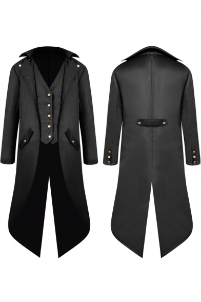 Men's Steampunk Vintage Tailcoat Jacket Gothic Victorian Medieval Halloween Costume Tuxedo Long Coat