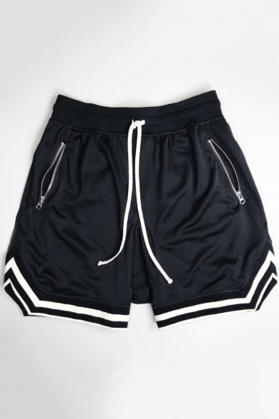 Men's Striped Cuff Drawstring Quick Dry Breathable Mesh Casual Running Shorts with Zip-Pockets