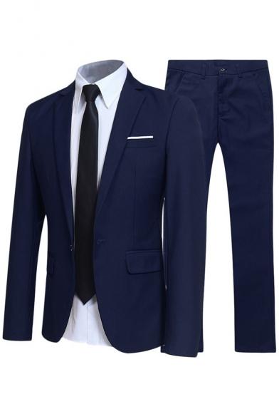 Mens Business Plain Long Sleeve Notched Lapel Single Button Slim Wedding Dress Two-Piece Suit