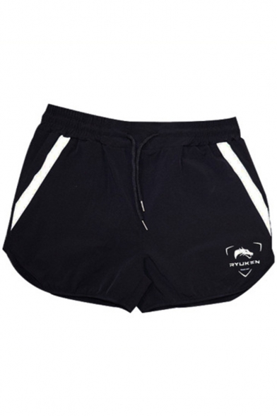 Mens Fashion Stripe Side Logo Printed Quick-Dry Drawstring-Waist Slim Fit Running Athletic Shorts
