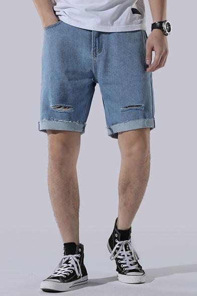 Mens Summer Cool Fashion Cut Ripped Frayed Hem Straight Fit Loose Denim Shorts