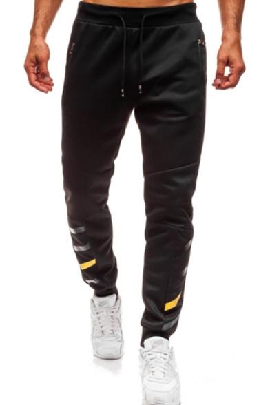 Mens Trendy Striped Print Tape Embellished Drawstring Waist Zip Pocket Loose Casual Sweatpants