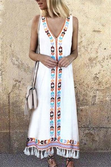 Retro Tribal Printed V-Neck Sleeveless Tassels Hem Maxi Tank Dress