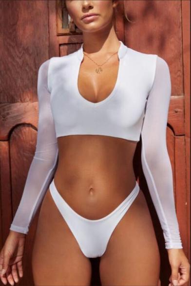 Simple Plain Mesh Long Sleeve Skinny Top Two-Piece Swimwear