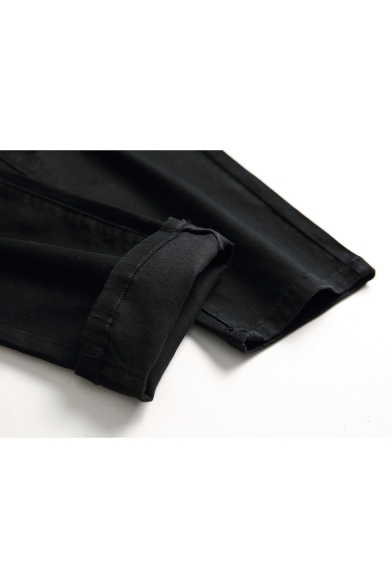 Street Hip Hop Style Knee Cut Distressed Stretch Fitted Black Jeans for Men