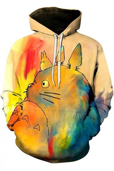 Stylish Cartoon Totoro Painting Sport Loose Pullover Khaki Hoodie