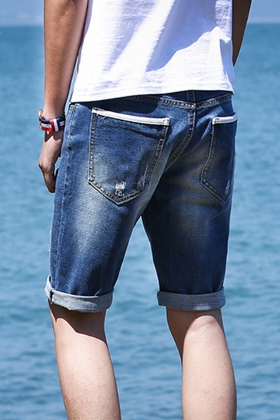 Summer Fashionable Ripped Details Rolled Cuff Guys Blue Denim Shorts