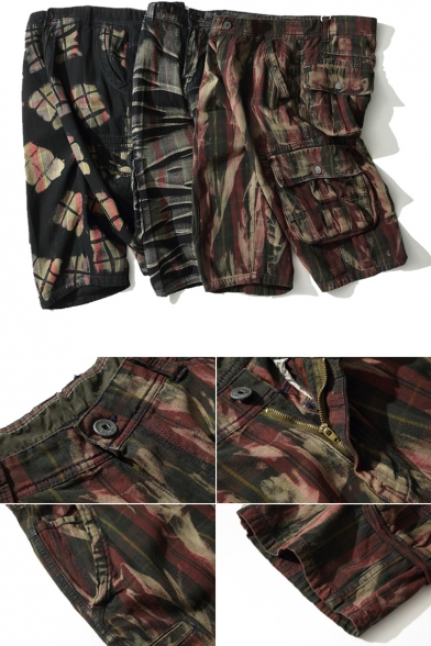 Summer New Stylish Camo Printed Multiple Pockets Athletic Cargo Shorts for Men