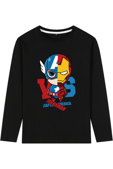 The Avengers 4 Fashion Letter Figure Printed Long Sleeve Mens Black T-Shirt