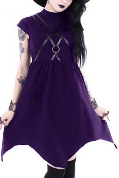Vintage Gothic Punk Style Ring Patched Cap Sleeve Plain Midi Asymmetric Dress