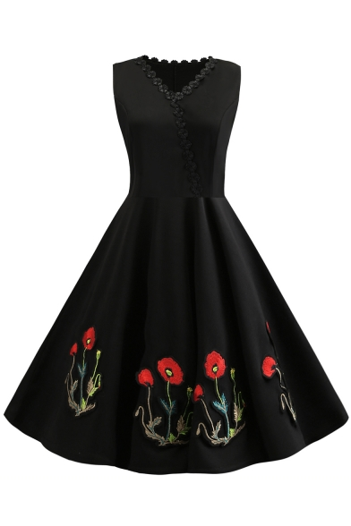 Women's Retro Style Floral Embroidered Black Lace Patched Midi Fit and Flared Dress