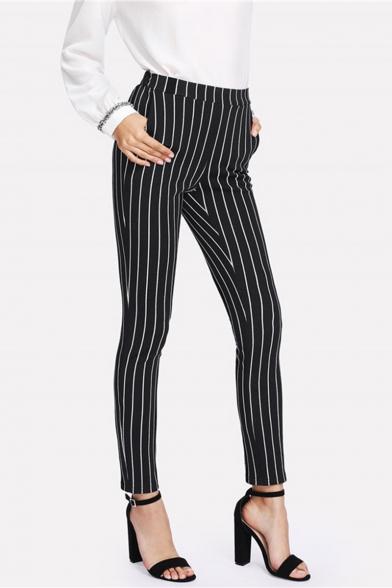Women's Vertical Stripe Print Fitted Black Pencil Pants