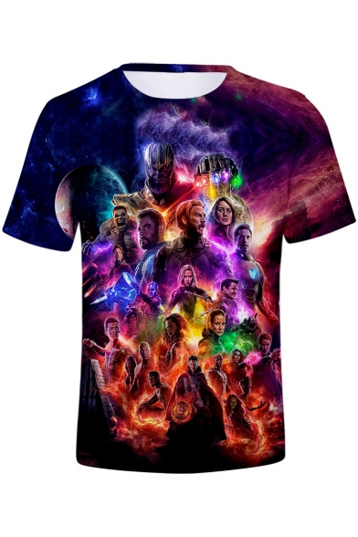 Avengers 4 Endgame 3D Figure Printed Short Sleeve Round Neck Summer T-Shirt