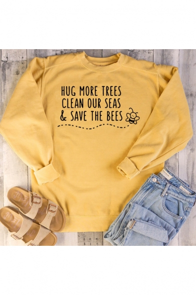 Fashion Bee Letter HUG MORE TREES CLEAN OUR SEAS Printed Crewneck Long Sleeve Casual Sweatshirt