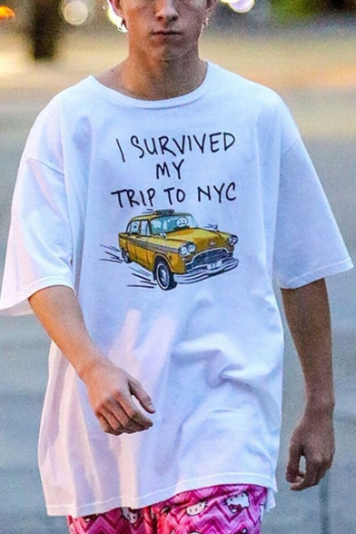 Fashion Street Letter I SURVIVED MY TRIP TO NYC Car Print Basic Oversized Cotton T-Shirt