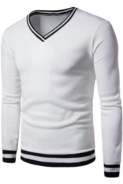 Men's New Fashion Long Sleeve V-Neck Color Block Slim Fitted Sweatshirt