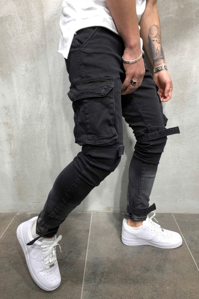 Men's Street Fashion Cool Flap-Pocket Side Velcro Patched Black Cargo Jeans