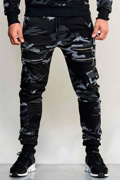 Mens Fashion Camouflage Printed Multi-Zip Embellished Sport Cargo Pants