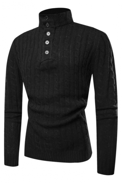 Mens Stylish Button Front Stand Collar Long Sleeve Plain Cable Knit Fitted Knit Sweater