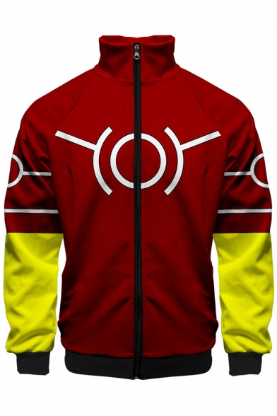 My Hero Academia Popular Comic Printed Stand-Collar Zip Up Fitted Red Jacket