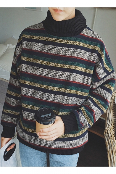 New Trendy Color Block Striped Turtleneck Long Sleeve Pullover Sweater for Guys