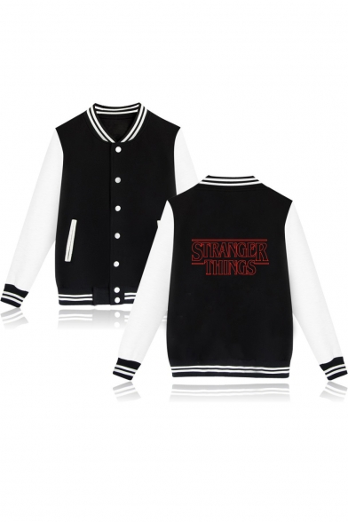 Stranger Things Series Trendy Letter Print Single Breasted Long Sleeve Color Block Warm Thick Baseball Jacket