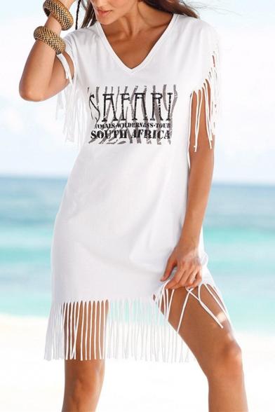 Summer Fashion Letter Printed Tassels White Beach Mini T-Shirt Dress