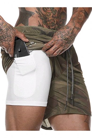Summer New Stylish Double Layered Pocket Inside Breathable Running Training Cotton Sport Shorts for Guys