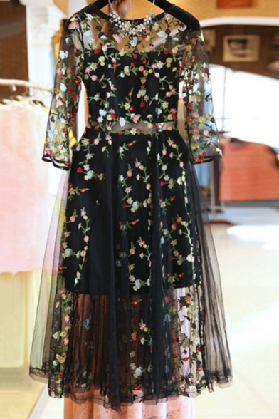 Trendy Floral Embroidered Transparent Mesh Half Sleeved Round Neck Black Maxi A-Line Dress with Liner