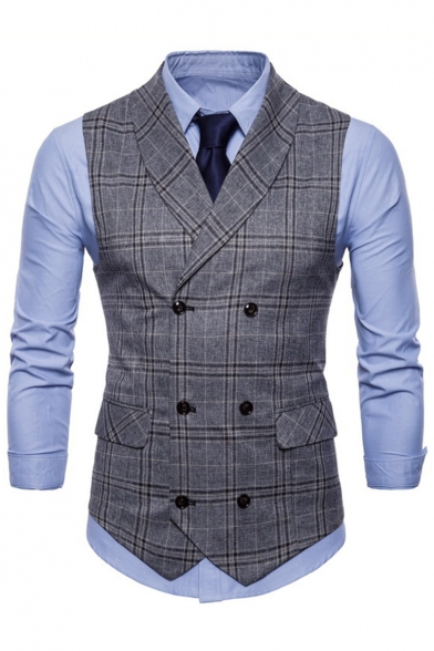 Unique Plaid Printed Shawl Collar Double-Breasted Slim Fit Mens Business Suit Vest