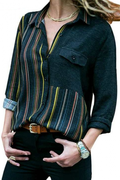 Womens Stylish Colorblock Stripe Pattern One Pocket Patched Chest Loose Fit Button-Up Shirt