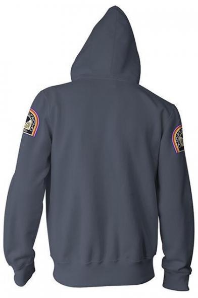 Alien 3D Badge Pattern Long Sleeve Loose Fit Unisex Grey Zip Up Hoodie