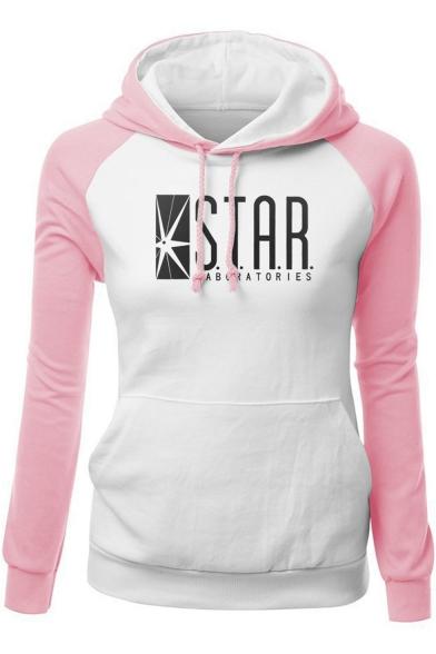 Fashion Colorblock Letter STAR Printed Raglan Sleeve Slim Fit Drawstring Hoodie, LC512374, Color 1;color 2;color 3;color 4;color 5;color 6