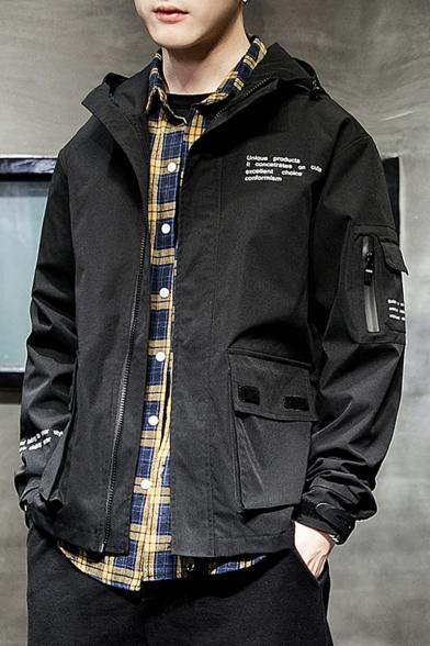 Mens Fashion Letter Printed Velcro Flap Pocket Zip Placket Hooded Coat Jacket