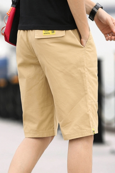 Mens Summer Trendy Simple Letter Printed Drawstring Waist Cotton Khaki Shorts