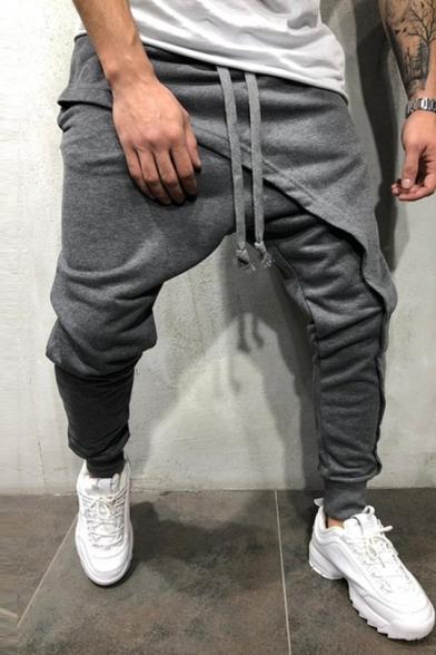 Mens Unique Layered Front Drop-Crotch Drawstring Waist Plain Joggers Hip Hop Harem Pants
