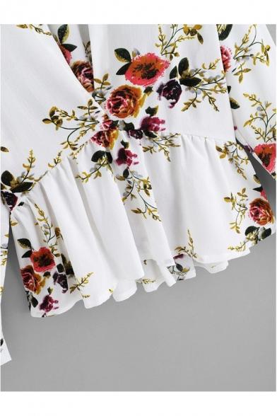 New Fashion Floral Printed Long Sleeve Lapel Collar Plunge V-Neck Ruffle Hem White Chiffon Blouse