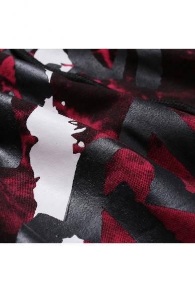 New Stylish Camo Letter FREE Graffiti Print Short Sleeve Slim Hoodie for Men