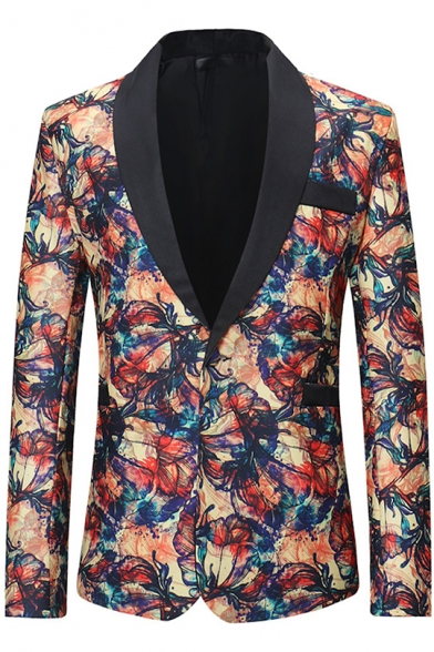 New Stylish Floral Printed Long Sleeve Shawl Collar Single Button Casual Mens Tuxedo Suit