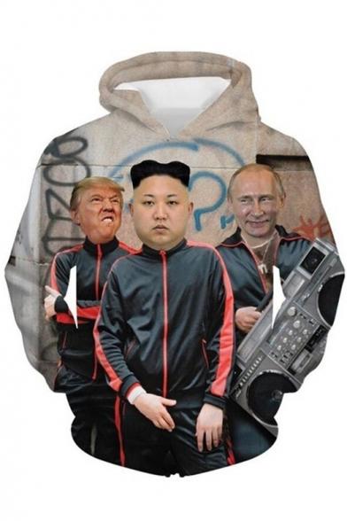 New Stylish Funny 3D Figure Kim Jong Un Trump and Putin Printed Long Sleeve Khaki Casual Pullover Hoodie