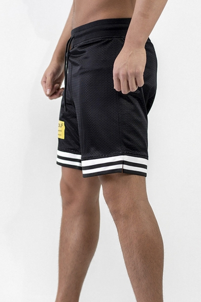 Summer Contrast Striped Trim Zip Patched Breathable Mesh Casual Black Sport Shorts for Men