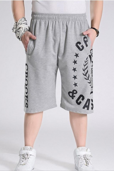 Summer Fashion Letter Stars Printed Elastic Waist Mens Relaxed Fit Cotton Sport Sweat Shorts