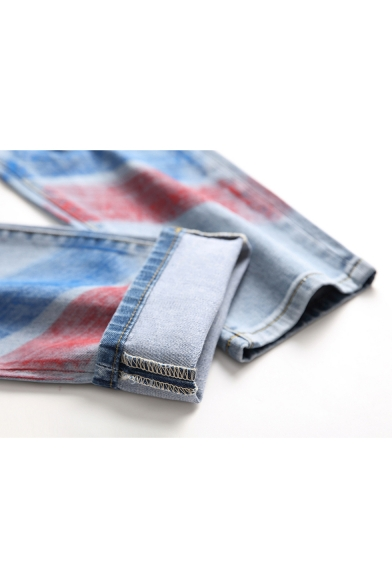 1c9a188734c9ff ... Summer Hip Hop Style Spray Printed Stretch Fit Light Blue Ripped Jeans  for Men