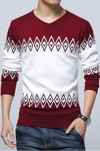 Trendy Rhombus Geometric Printed V-Neck Thin Slim Fit Sweater for Guys