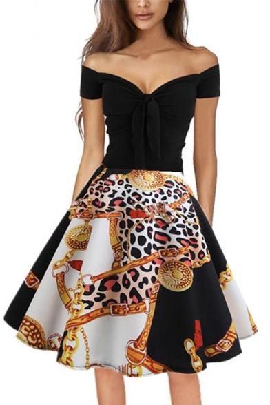 Unique Trendy Printed Off the Shoulder Short Sleeves Bow-Tied Front Black Midi Flare Dress
