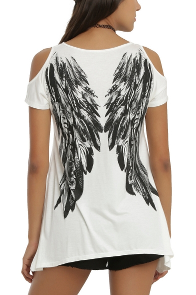 Women's Wing Letter ANGEL Printed Cold Shoulder Short Sleeve Asymmetrical Hem T-Shirt