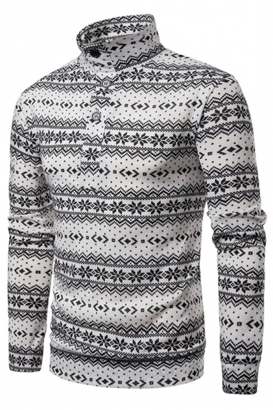 Christmas Snowflake Printed Button Front Stand Collar Mens Jumper Sweater